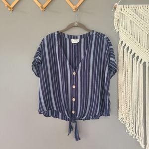 Universal Thread | Tie Front Striped Button Down